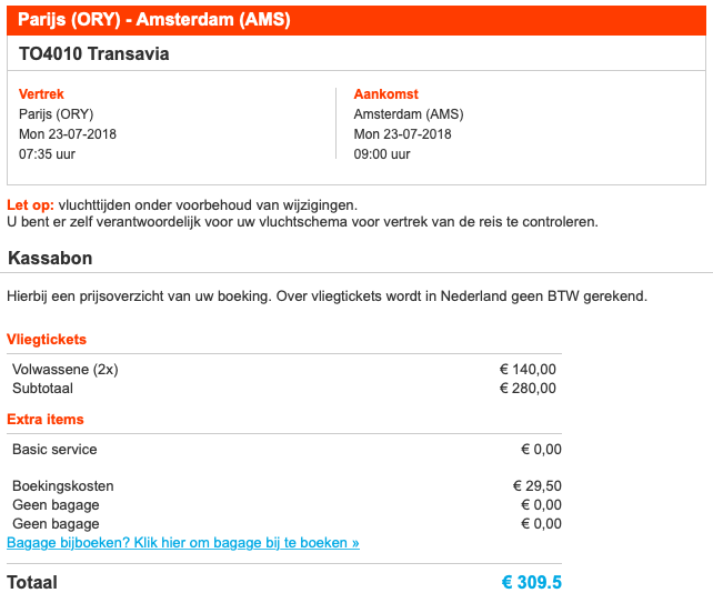 Vliegtickets augustus Orly Airport